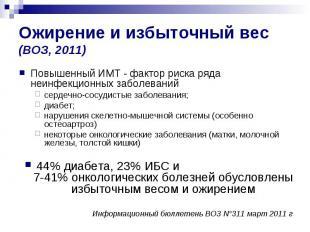 Ожирение и избыточный вес (ВОЗ, 2011) Повышенный ИМТ - фактор риска ряда неинфек
