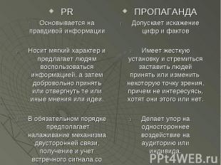 PR PR Основывается на правдивой информации Носит мягкий характер и предлагает лю