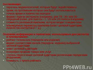 Составляющие: Составляющие: перечень медианосителей, которые будут задействованы