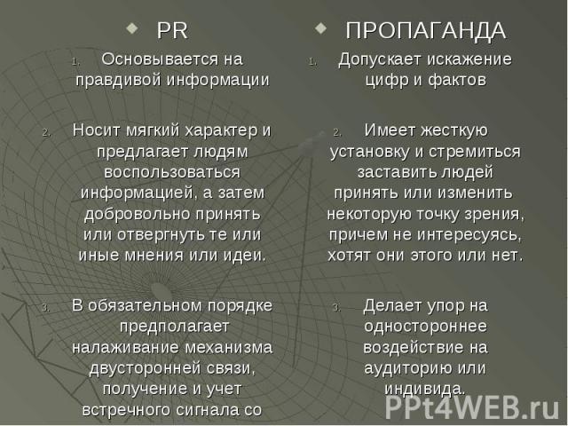 PR PR Основывается на правдивой информации Носит мягкий характер и предлагает людям воспользоваться информацией, а затем добровольно принять или отвергнуть те или иные мнения или идеи. В обязательном порядке предполагает налаживание механизма двусто…