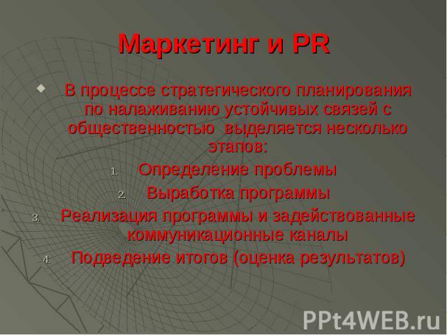 Маркетинг и PR В процессе стратегического планирования по налаживанию устойчивых связей с общественностью выделяется несколько этапов: Определение проблемы Выработка программы Реализация программы и задействованные коммуникационные каналы Подведение…