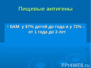 БКМ у 87% детей до года и у 72% - от 1 года до 3 лет БКМ у 87% детей до года и у
