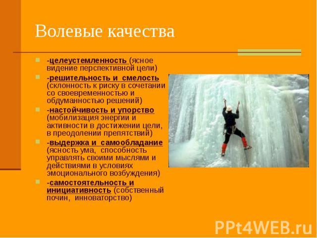 Волевые качества -целеустемленность (ясное видение перспективной цели) -решительность и смелость (склонность к риску в сочетании со своевременностью и обдуманностью решений) -настойчивость и упорство (мобилизация энергии и активности в достижении це…