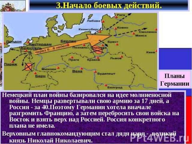 Немецкий план войны базировался на идее молниеносной войны. Немцы развертывали свою армию за 17 дней, а Россия - за 40.Поэтому Германия хотела вначале разгромить Францию, а затем перебросить свои войска на Восток и взять верх над Россией. Россия кон…
