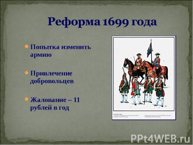 Попытка изменить армию Попытка изменить армию Привлечение добровольцев Жалование – 11 рублей в год