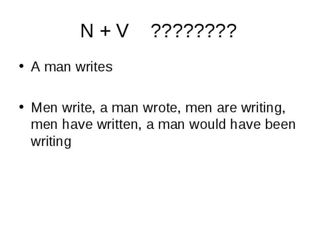 A man writes A man writes Men write, a man wrote, men are writing, men have written, a man would have been writing