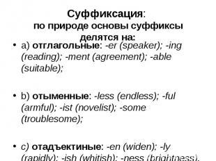 a) отглагольные: -er (speaker); -ing (reading); -ment (agreement); -able (suitab