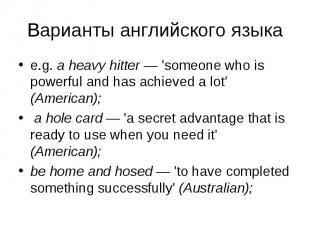 e.g. a heavy hitter — 'someone who is powerful and has achieved a lot' (American