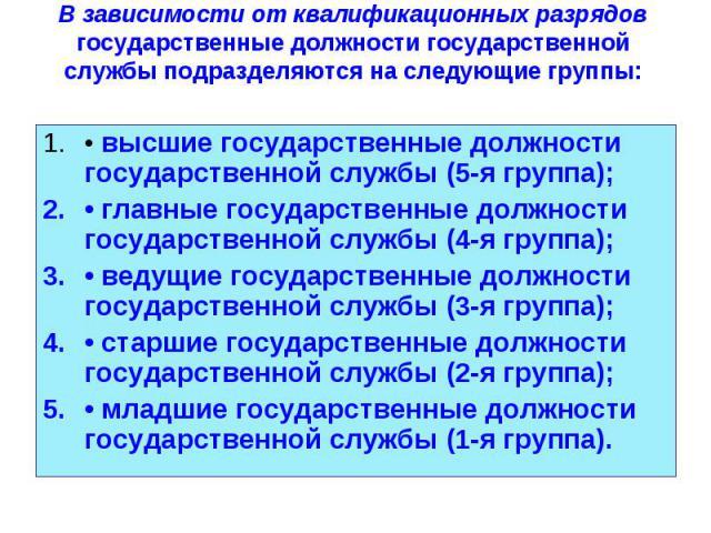 • высшие государственные должности государственной службы (5-я группа); • высшие государственные должности государственной службы (5-я группа); • главные государственные должности государственной службы (4-я группа); • ведущие государственные должно…