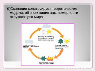 б)Сознание конструирует теоретические модели, объясняющие закономерности окружаю