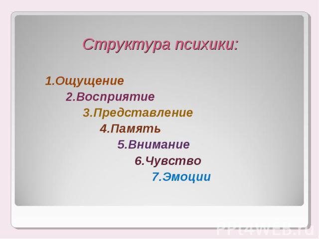 1.Ощущение 1.Ощущение 2.Восприятие 3.Представление 4.Память 5.Внимание 6.Чувство 7.Эмоции