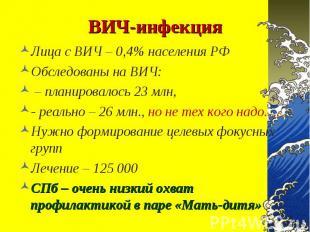 Лица с ВИЧ – 0,4% населения РФ Лица с ВИЧ – 0,4% населения РФ Обследованы на ВИЧ