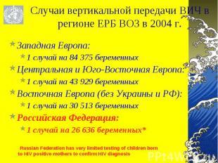 Западная Европа: Западная Европа: 1 случай на 84 375 беременных Центральная и Юг