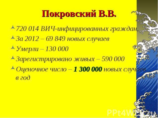 720 014 ВИЧ-инфицированных граждан, 720 014 ВИЧ-инфицированных граждан, За 2012 – 69 849 новых случаев Умерли – 130 000 Зарегистрировано живых – 590 000 Оценочное число – 1 300 000 новых случаев в год