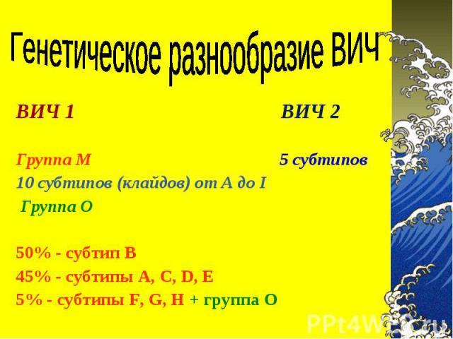 ВИЧ 1 ВИЧ 2 ВИЧ 1 ВИЧ 2  Группа М 5 субтипов 10 субтипов (клайдов) от A до I Группа О  50% - субтип В 45% - субтипы А, С, D, E 5% - субтипы F, G, H + группа О