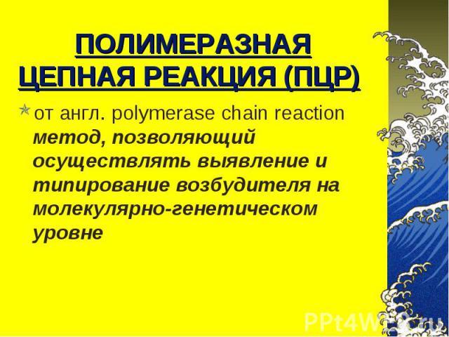 от англ. polymerase chain reaction метод, позволяющий осуществлять выявление и типирование возбудителя на молекулярно-генетическом уровне от англ. polymerase chain reaction метод, позволяющий осуществлять выявление и типирование возбудителя на молек…