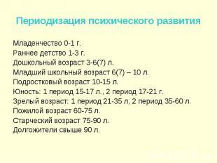 Младенчество 0-1 г. Младенчество 0-1 г. Раннее детство 1-3 г. Дошкольный возраст