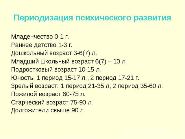 Младенчество 0-1 г. Младенчество 0-1 г. Раннее детство 1-3 г. Дошкольный возраст 3-6(7) л. Младший школьный возраст 6(7) – 10 л. Подростковый возраст 10-15 л. Юность: 1 период 15-17 л., 2 период 17-21 г. Зрелый возраст: 1 период 21-35 л, 2 период 35…