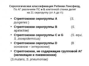 Стрептококки серогруппы А (S. pyogenes ) Стрептококки серогруппы А (S. pyogenes