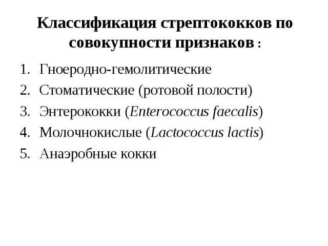 Гноеродно-гемолитические Гноеродно-гемолитические Стоматические (ротовой полости) Энтерококки (Enterococcus faecalis) Молочнокислые (Lactococcus lactis) Анаэробные кокки
