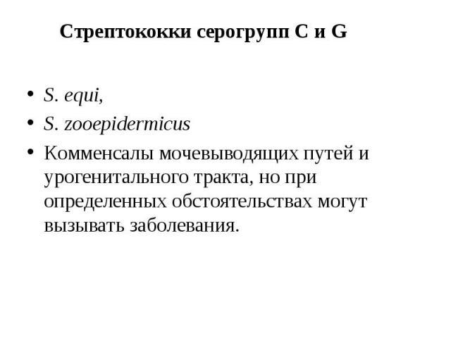 S. equi, S. equi, S. zooepidermicus Комменсалы мочевыводящих путей и урогенитального тракта, но при определенных обстоятельствах могут вызывать заболевания.