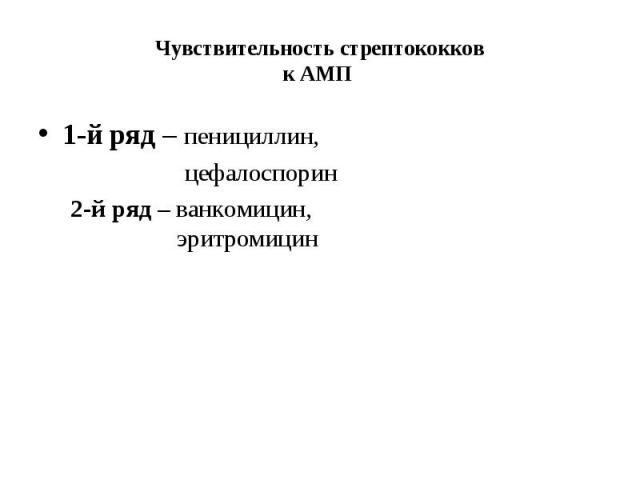 1-й ряд – пенициллин, 1-й ряд – пенициллин, цефалоспорин 2-й ряд – ванкомицин, эритромицин