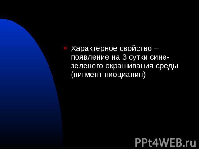 Характерное свойство – появление на 3 сутки сине-зеленого окрашивания среды (пигмент пиоцианин) Характерное свойство – появление на 3 сутки сине-зеленого окрашивания среды (пигмент пиоцианин)