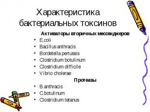 Характеристика бактериальных токсинов Активаторы вторичных мессенджеров E.coli B