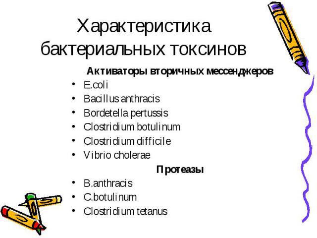 Характеристика бактериальных токсинов Активаторы вторичных мессенджеров E.coli Bacillus anthracis Bordetella pertussis Clostridium botulinum Clostridium difficile Vibrio cholerae Протеазы B.anthracis C.botulinum Clostridium tetanus