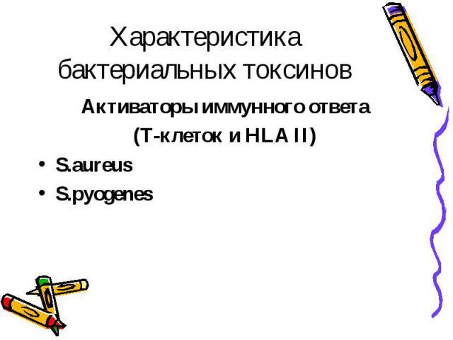 Характеристика бактериальных токсинов Активаторы иммунного ответа (Т-клеток и HLA II) S.aureus S.pyogenes