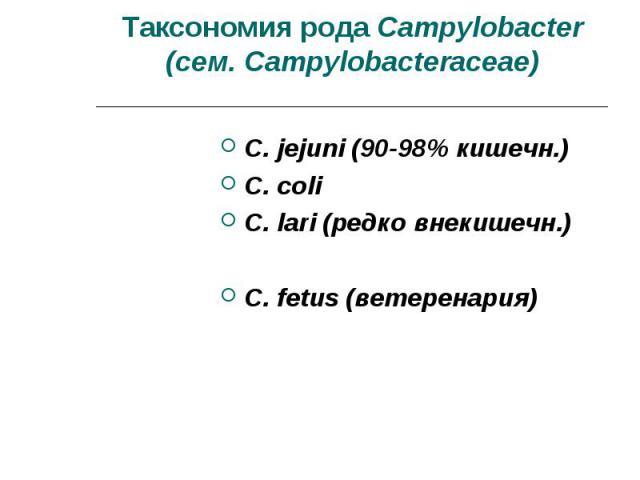C. jejuni (90-98% кишечн.) C. jejuni (90-98% кишечн.) C. coli C. lari (редко внекишечн.) C. fetus (ветеренария)