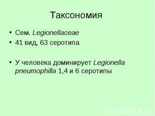 Таксономия Сем. Legionellaceae 41 вид, 63 серотипа У человека доминирует Legione