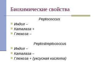 Peptococcus Peptococcus Индол – Каталаза + Глюкоза – Peptostreptococcus Индол –