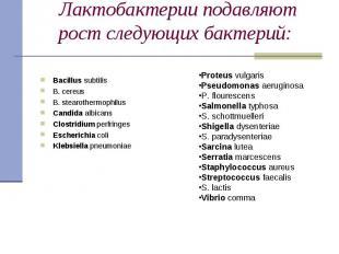 Bacillus subtilis Bacillus subtilis В. cereus В. stearothermophilus Candida albi