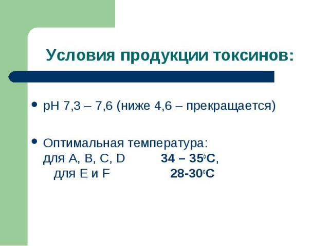 рН 7,3 – 7,6 (ниже 4,6 – прекращается) рН 7,3 – 7,6 (ниже 4,6 – прекращается) Оптимальная температура: для А, В, С, D 34 – 35оС, для Е и F 28-30оС