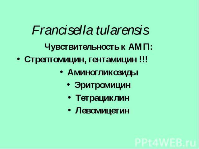 Чувствительность к АМП: Чувствительность к АМП: Стрептомицин, гентамицин !!! Аминогликозиды Эритромицин Тетрациклин Левомицетин