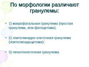 1) макрофагальная гранулема (простая гранулема, или фагоцитома); 2) эпителиоидно