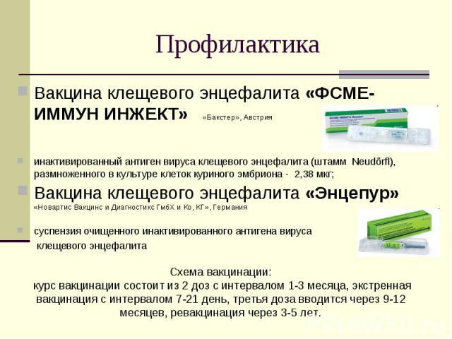 Вакцина клещевого энцефалита «ФСМЕ-ИММУН ИНЖЕКТ» «Бакстер», Австрия Вакцина клещевого энцефалита «ФСМЕ-ИММУН ИНЖЕКТ» «Бакстер», Австрия инактивированный антиген вируса клещевого энцефалита (штамм Neudörfl), размноженного в культуре клеток куриного э…