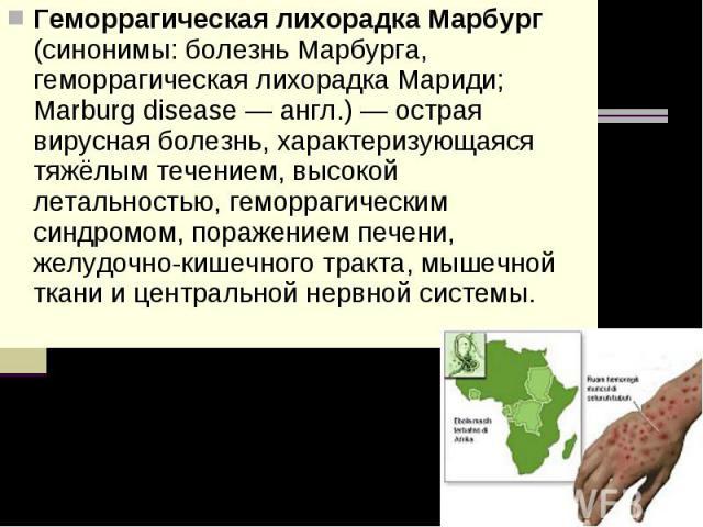 Геморрагическая лихорадка Марбург (синонимы: болезнь Марбурга, геморрагическая лихорадка Мариди; Marburg disease — англ.) — острая вирусная болезнь, характеризующаяся тяжёлым течением, высокой летальностью, геморрагическим синдромом, поражением пече…