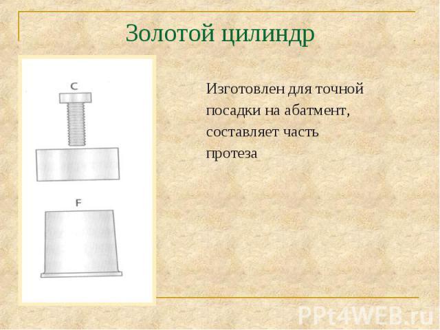 Изготовлен для точной Изготовлен для точной посадки на абатмент, составляет часть протеза