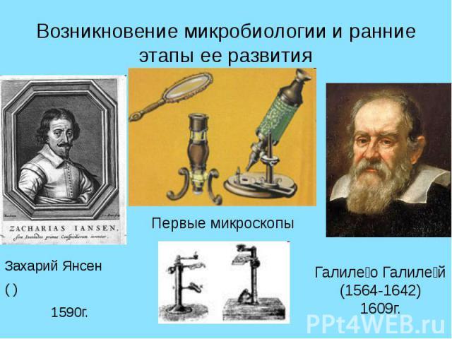 Возникновение микробиологии и ранние этапы ее развития Захарий Янсен ( ) 1590г.