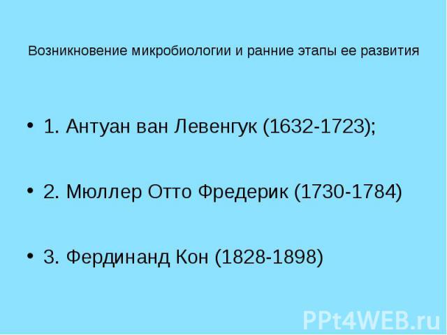 Возникновение микробиологии и ранние этапы ее развития 1. Антуан ван Левенгук (1632-1723); 2. Мюллер Отто Фредерик (1730-1784) 3. Фердинанд Кон (1828-1898)