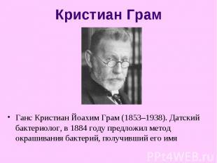 Ганс Кристиан Йоахим Грам (1853–1938). Датский бактериолог, в 1884 году предложи