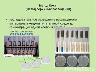 Метод Коха (метод серийных разведений) последовательное разведение исследуемого