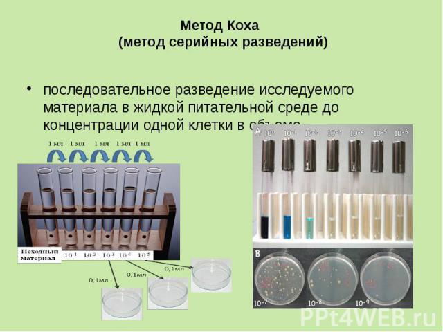 Метод Коха (метод серийных разведений) последовательное разведение исследуемого материала в жидкой питательной среде до концентрации одной клетки в объеме.