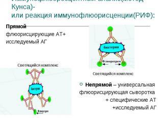 Прямой Прямой флюорисцирующие АТ+ исследуемый АГ Непрямой – универсальная флюори