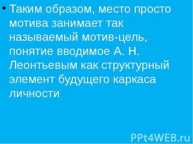 Таким образом, место просто мотива занимает так называемый мотив-цель, понятие вводимое А. Н. Леонтьевым как структурный элемент будущего каркаса личности