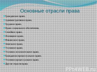 Основные отрасли права Гражданское право, Административное право, Трудовое право