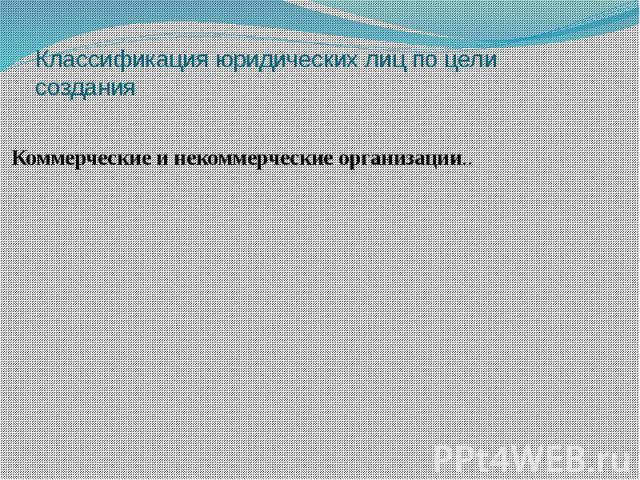 Классификация юридических лиц по цели создания Коммерческие и некоммерческие организации..