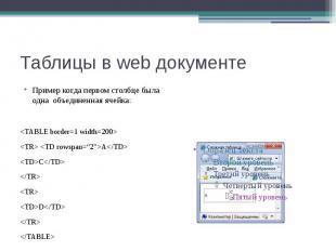 Таблицы в web документе Пример когда первом столбце была одна объединенная ячейк